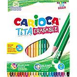 """Набор цветных карандашей Carioca """"Tita Erasable"""" шестигранные, 24 цвета"""
