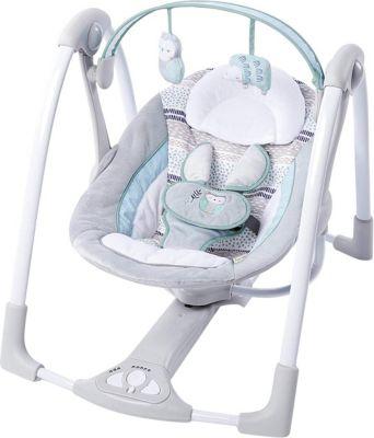 Tragbare Babyschaukel inkl. Adapter, Abernathy grau/hellblau
