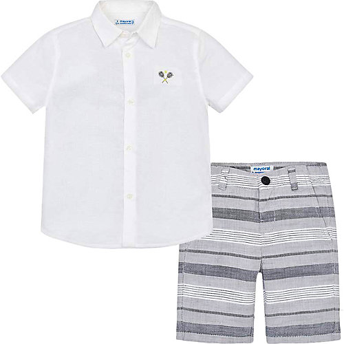 Комплект Mayoral: рубашка и шорты - серый/белый от Mayoral