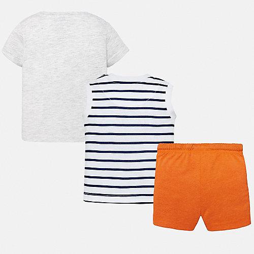 Комплект Mayoral: футболка, майка и шорты - синий/оранжевый от Mayoral