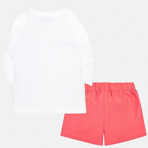 Комплект Mayoral: лонгслив и шорты - белый/коралловый от Mayoral