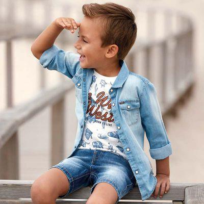 Рубашка Mayoral для мальчика - синий деним