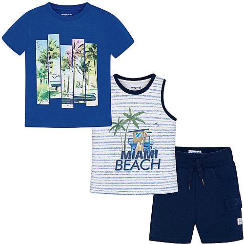 Комплект Mayoral: футболка, майка и шорты - синий от Mayoral