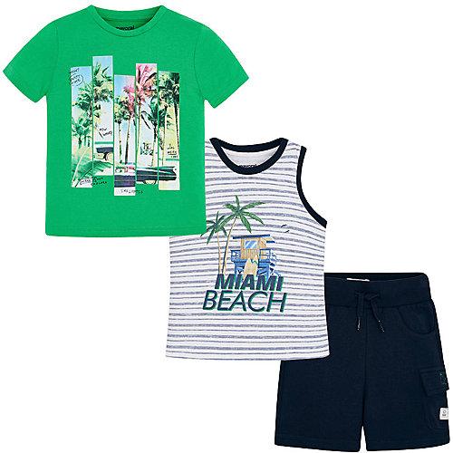 Комплект Mayoral: футболка, майка и шорты - зеленый от Mayoral