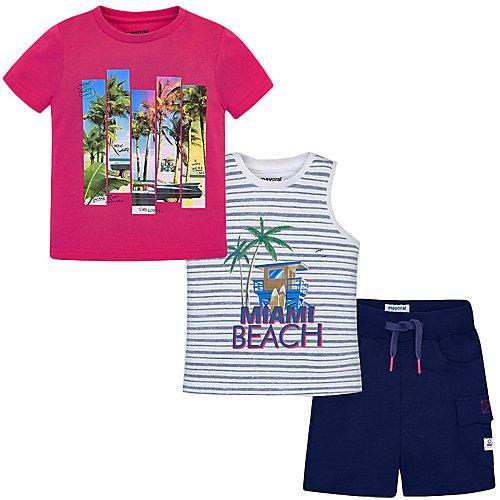 Комплект Mayoral: футболка, майка и шорты - голубой от Mayoral