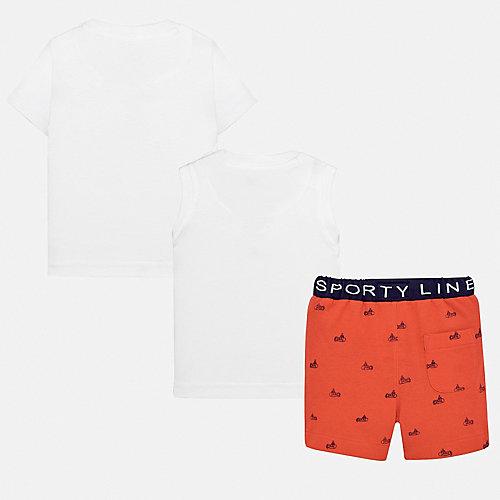 Комплект Mayoral: футболка, майка и шорты - оранжевый/белый от Mayoral