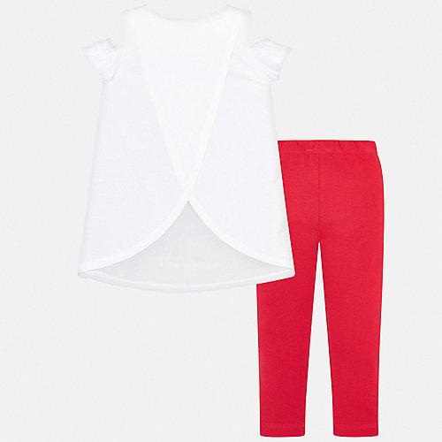 Комплект Mayoral: футболка и леггинсы - оранжевый/белый от Mayoral