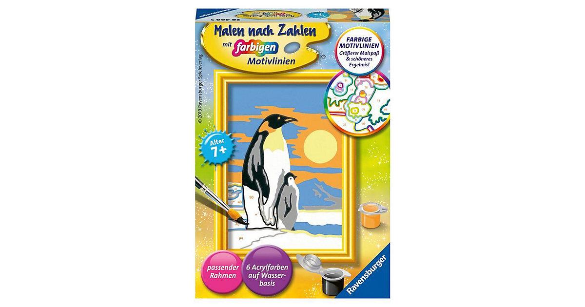 Malen nach Zahlen, 8,5x12 cm, mit farbigen Motivlinien, Pinguine