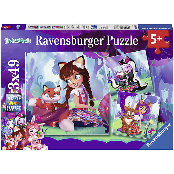 3er Set Puzzle, je 49 Teile, 21x21 cm, Enchantimals