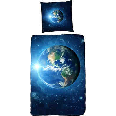 Wende Kinderbettwäsche Unser Sonnensystem Linon 135 X 200 Cm