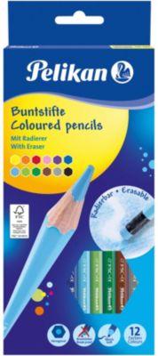 Buntstifte radierbar, 12 Farben, mit Radiertopper bunt