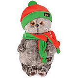 Мягкая игрушка Budi Basa Кот Басик в оранжево-зеленой шапке и шарфике, 19 см