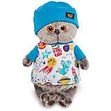 Мягкая игрушка Budi Basa Кот Басик в футболке космос и в шапочке, 19 см