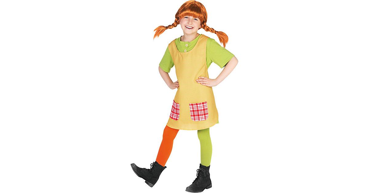 Kostüm Pippi Langstrumpf gelb/grün Gr. 110/116 Mädchen Kinder