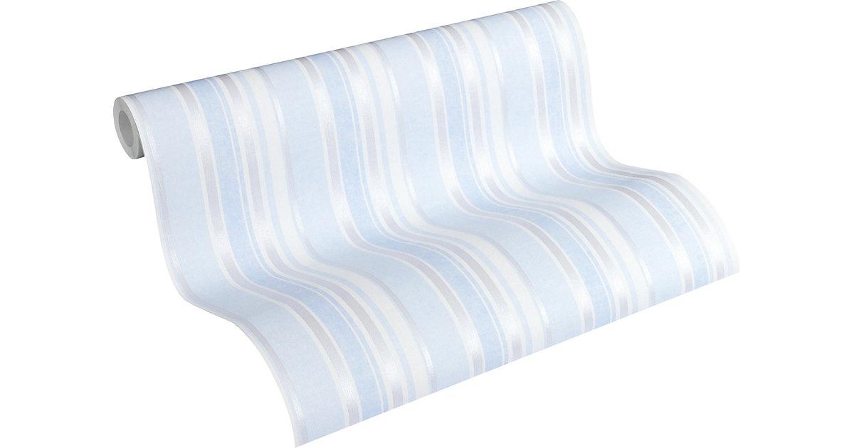 Vliestapete Little Stars, Streifen, blau/silber/metallic, 10,05 m x 53 cm