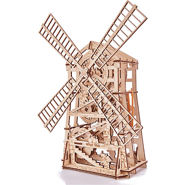 Механический 3D-пазл из дерева Wood Trick Мельница с заводным механизмом