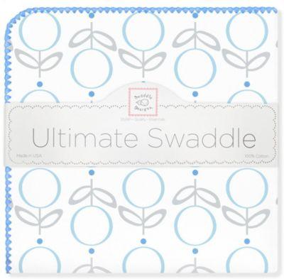 Фланелевая пеленка SwaddleDesigns Lolli Fleur Blue, 110х110 см