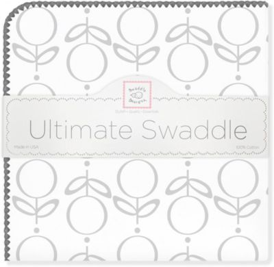 Фланелевая пеленка SwaddleDesigns Lolli Fleur Grey, 110х110 см