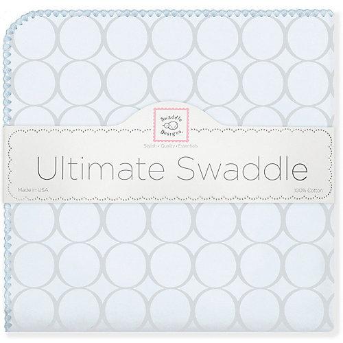Фланелевая пеленка SwaddleDesigns Blue circles, 110х110 см от SwaddleDesigns
