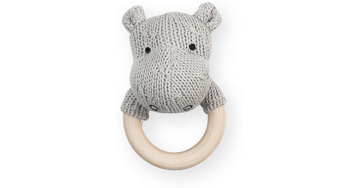 Jollein · Beißring Hippo, Strick, hellgrau, 7 cm