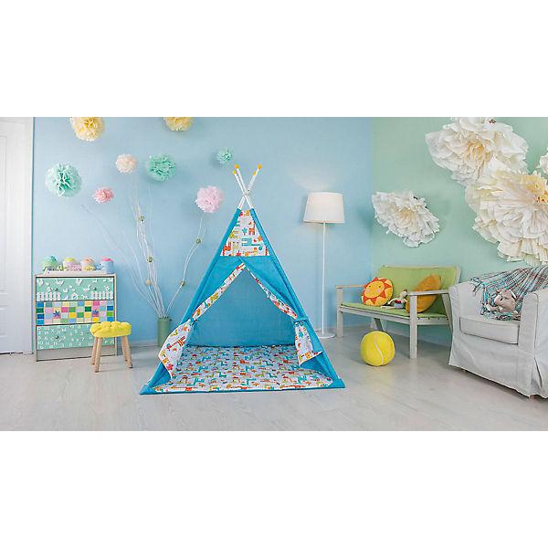 Палатка-вигвам детская Polini Жираф, голубая