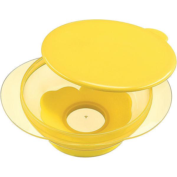Тарелка на присоске с крышкой Happy Baby, lemon
