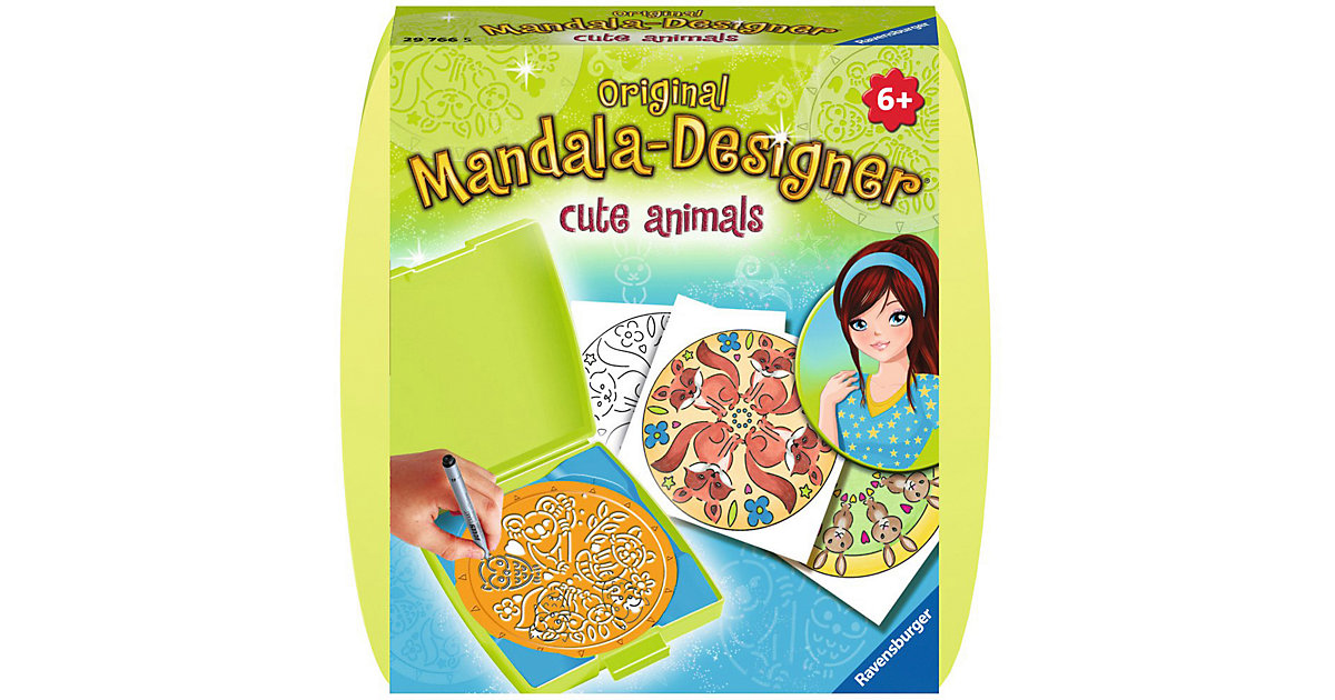 Mandala-Designer® Mini Set mit 1 Schablone, Cute Animals