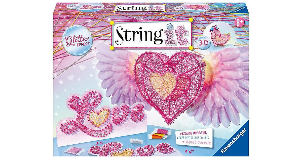Fadenbild String it Maxi - 3D-Herzen mit Glittereffekt pink-kombi