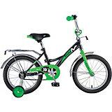 Велосипед Novatrack Strike 16 дюймов, черно-зеленый
