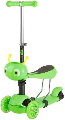 Самокат-кикборд Novatrack Disco-kids трансформер, зеленый