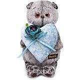 Мягкая игрушка Budi Basa Кот Басик с сердцем из бархата, 19 см
