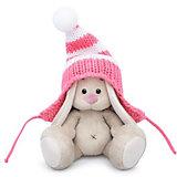 Мягкая игрушка Budi Basa Зайка Ми в полосатой розовой шапке, 15 см