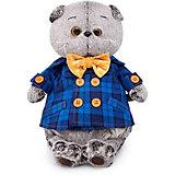 Мягкая игрушка Budi Basa Кот Басик в синей куртке и с бантом, 22 см