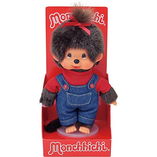 Мягкая игрушка Monchhichi Мончичи, девочка в комбинезоне и красной футболке, 20 см от Monchhichi