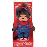 Мягкая игрушка Monchhichi Мончичи, девочка в комбинезоне и красной футболке, 20 см