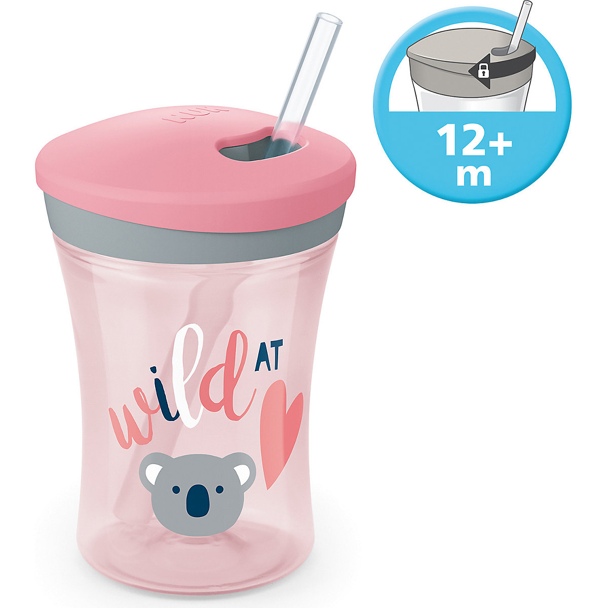 NUK 2 x Action Cup 230 ml Trinkhalm Trinklernbecher ab  12 Monate Koala rosa