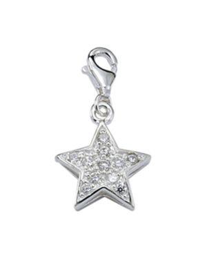 Adelia´s Silber Charms Anhänger Stern 925 Sterling Silber mit Zirkonia Kettenanhänger, Adelia's