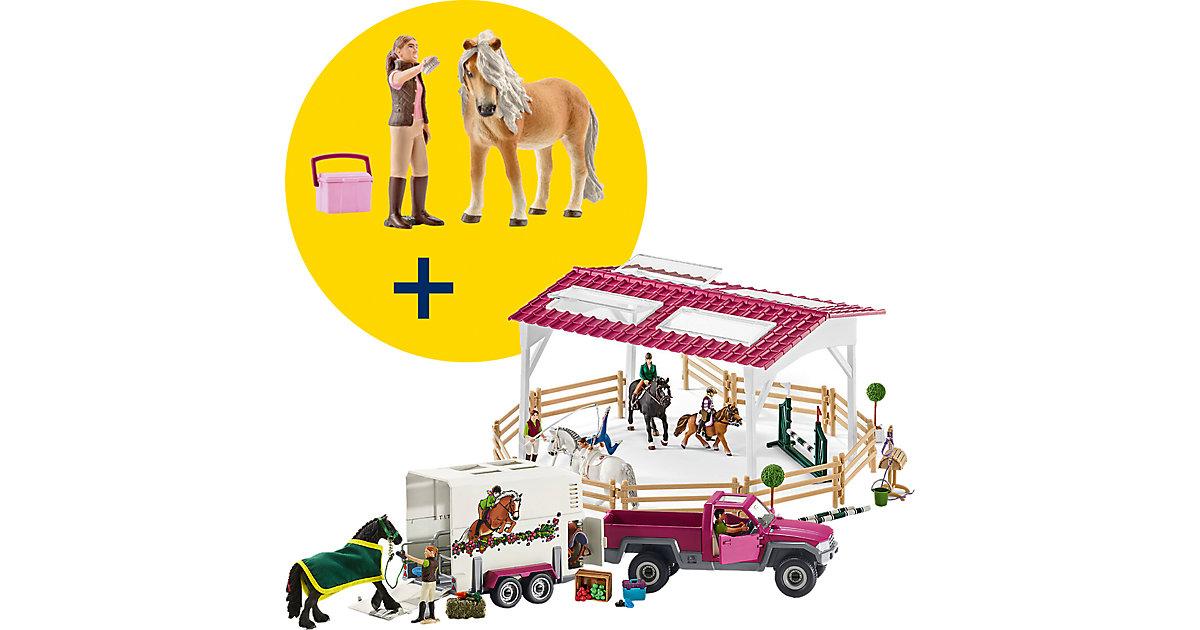 Schleich · Schleich Reitschule mit Pick-up + GRATIS Pferdepflegerin mit Pony (42403+41431)