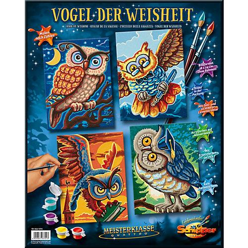 Комплект картин по номерам Schipper Совы мудрости, 4 штуки от Schipper