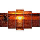 Комплект картин по номерам Schipper Полиптих: Закат на карибах, 5 шт, 132х72 см