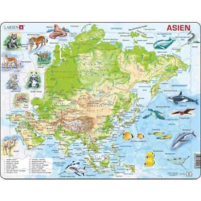 Karte Asien.Rahmen Puzzle 63 Teile 36x28 Cm Karten Asien Physisch Larsen