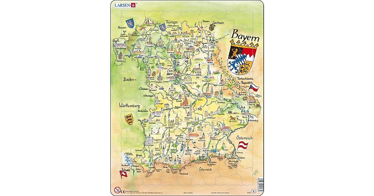 Rahmen-Puzzle, 80 Teile, 36x28 cm, Karte Bayern (Touristisch)