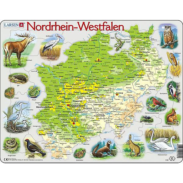 Nordrhein Westfalen Karte.Rahmen Puzzle 61 Teile 36x28 Cm Karte Nordrhein Westfalen Physisch Larsen