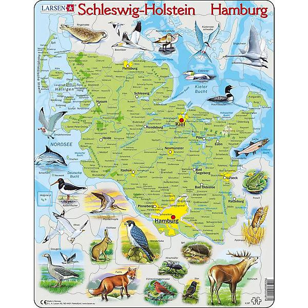 Schleswig Holstein Karte.Rahmen Puzzle 53 Teile 36x28 Cm Karte Schleswig Holstein Hamburg Larsen
