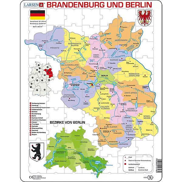 Rahmen Puzzle 70 Teile 36x28 Cm Karte Brandenburg Berlin
