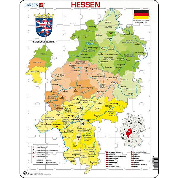 karte hessen Rahmen Puzzle, 70 Teile, 36x28 cm, Karte Hessen (politisch