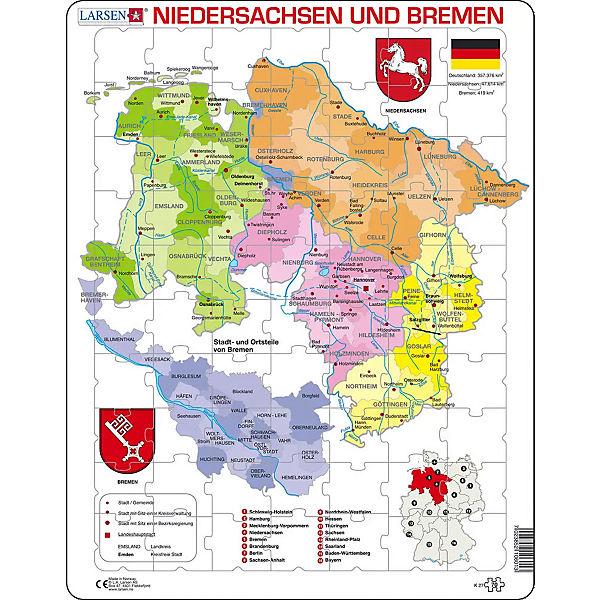 Rahmen Puzzle 70 Teile 36x28 Cm Karte Niedersachsen Bremen Politisch Larsen Mytoys