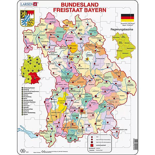 Karte Bayern.Rahmen Puzzle 70 Teile 36x28 Cm Karte Bundesland Bayern Larsen