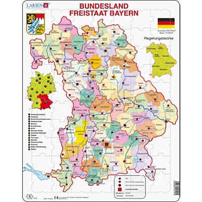 Karte Bundesländer.Rahmen Puzzle 70 Teile 36x28 Cm Karte Bundesland Bayern Larsen