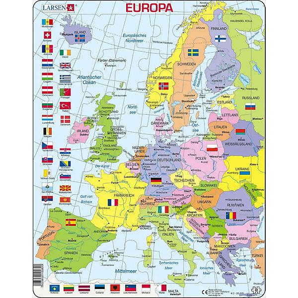 Rahmen Puzzle 48 Teile 36x28 Cm Karte Europa Politisch